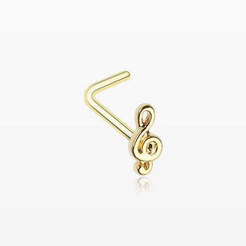 Golden Treble Clef Music Note L-Shaped Nose Ring