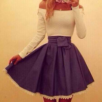 White and Blue Color Block Slash Collar Pleated Dress