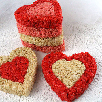 Double Heart Rice Krispie Treats, Rice Krispie Valentines Treats, Heart Rice Krispie, Valentines Day Party, Rice Krispie Treat Valentines
