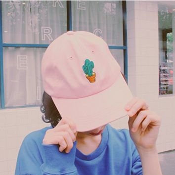 Pink Cactus Embroidery Embroidered Adjustable Plain Hat Cotton Twill Baseball Cap