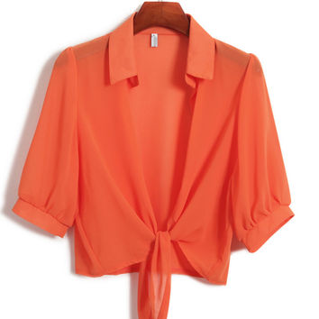 Orange Bell Sleeve Tie Front Crop Top