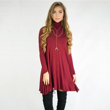 2017 Fall Winter  Women's Casual, Turtleneck, Shirt, Long Sleeve Burgundy , Party, Pleated,  Mini Dress Sizes Small-X Large, S-XL