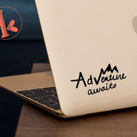 Adventure Awaits Vinyl Decal Sticker - laptop stickers - DIY quote - car decal, laptop decal, car sticker, laptop sticker, mirror decal