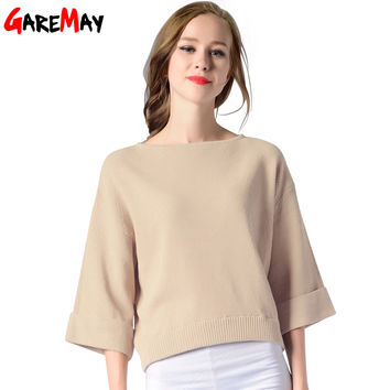 Wide Sleeve Sweater Beige For Women Slash Neck Collar Pullover Knitting Tops Plus Size Jumper Loose Sweater Autumn GAREMAY 7007