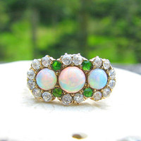Stunning Antique Opal Diamond and Dematoid Garnet Ring, Fiery Diamond, Super Colorful Opals, Rare Old Demantoids, GIA Appraisal of 4217.70