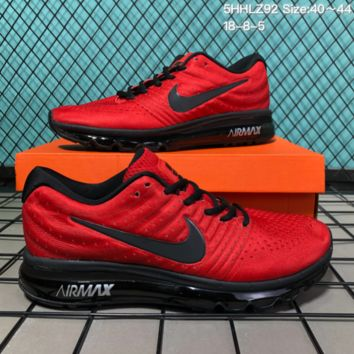 DCCK N186 Nike Air Max 2017 mesh breathable full palm cushion casual sports shoes Red Black