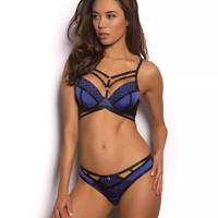 Playboy Lanicera Brazilian Knicker - Black/Blue