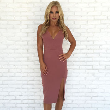 Madame Midi Dress In Mauve