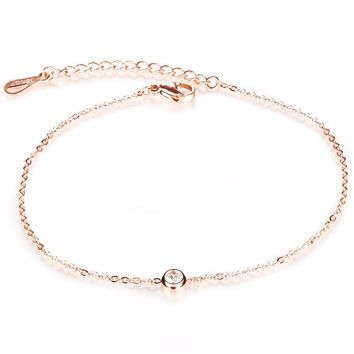 AAA+ Cubic Zirconia Woman Anklets Casual/Sporty Rose Gold Color Stainless Steel Women Ankle Bracelet Jewelry Spring Summer