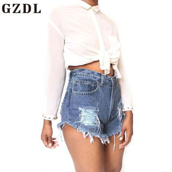 GZDL 2017 Summer Girls Denim Jeans Shorts Slim Fitness  High Waist Women's Button Fly Ripped Pocket Pants Plus Size Women CL3543