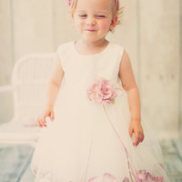 Satin & Tulle Floating Flower Petals Dress with Dress & Petals Color Choices (Baby Girls 3 - 24 months)