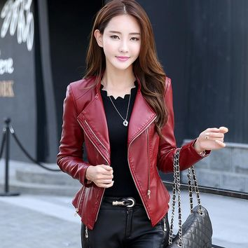 Remache rebite Spring brand 2016 women clothing fur leather jacket women dress leather coat jaqueta couro feminina Rivet jacket