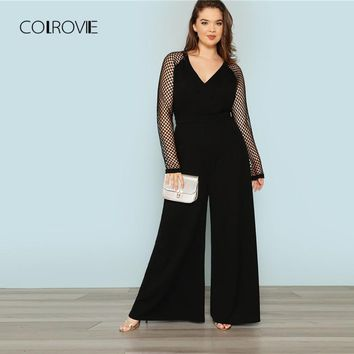 COLROVIE Plus Size Black Solid Office Cut Out Sexy Jumpsuit Women Fishnet Sleeve Overalls Female Elegant Jumpsuits