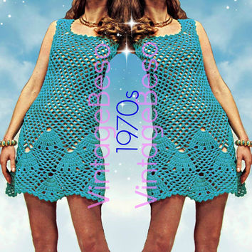 Seashell Mini Dress CROCHET Pattern 70s Vintage Crochet Pattern Instant PDF Beach Cover-up Sexy Dress Vixen-Wear Crochet Pattern PDF