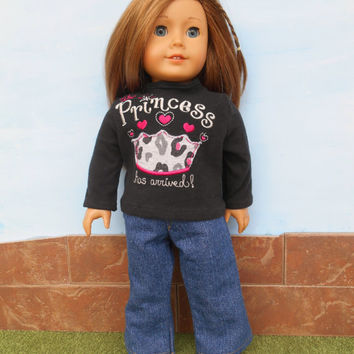 Princess T Shirt with Blue Jeans, Appliqued and Machine Embroidered Black Doll T Shirt, fits 18 Inch Dolls such as American Girl Dolls