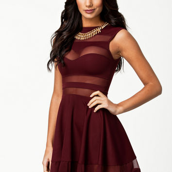 Wine Red Mesh Striped Sleeveless Skater Dress