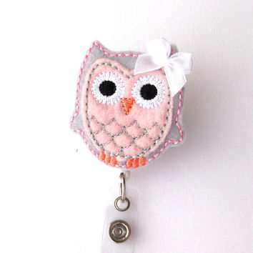 Pink and Grey Owl - Name Badge Holder - Cute Badge Reels - Unique Retractable ID Badge Holder - Felt Badge Reel - RN Badge - BadgeBlooms