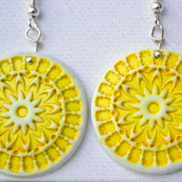 Add some sunshine - yellow polymer stamped floral earrings