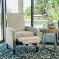 Lindqvist Contemporary Beige Fabric Slim Recliner Chair