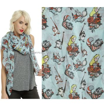 Licensed cool NEW Disney Alice in Wonderland Blue Tattoo Oblong Neck Scarf Hot Topic Exclusive
