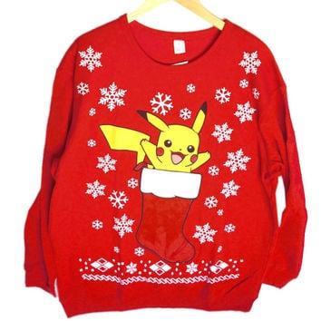 Pokeman Pikachu in a Christmas Stocking Ugly Holiday Sweatshirt – Big + Tall