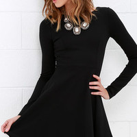 Forever Chic Black Long Sleeve Dress