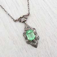 Antique Art Deco Green Glass Necklace -  Vintage 1930s Bow & Filigree Silver Tone Costume Jewelry / Floral Open Metal Work
