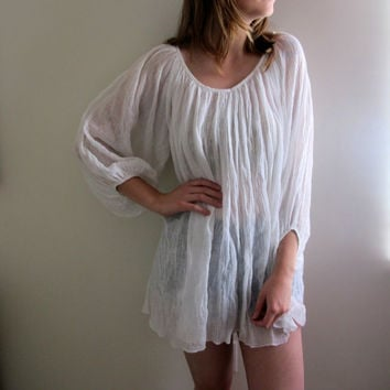 Vintage White Blouse Tunic Dress Womens Shirt Boho Bohemian Gypsy Retro See Through Summer Sheer