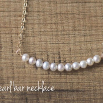 Curved Pearl Bar Necklace