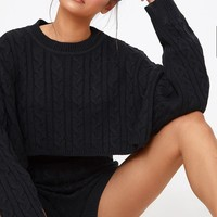Black Over Sized Crop Knit Jumper