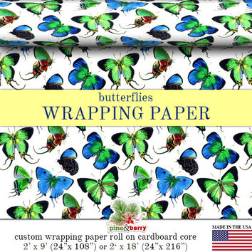 Butterfly Wrapping Paper | Custom Blue And Green Butterflies Gift Wrap Paper 9 foot or 18 foot Rolls Great For Any Occasion.