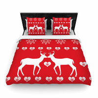 "Suzanne Carter ""Christmas Deer 2"" Holiday Pattern Woven Duvet Cover"
