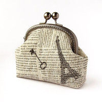 Newspaper Linen Purse, Black White Retro Style Pouch, Paris Eiffel Tower, Key, fabric wallet with kisslock