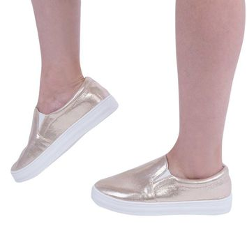 Autumn Spring Fashion Women Patent Leather Casual Flat Shoes Shining Lazy Slip On Thic