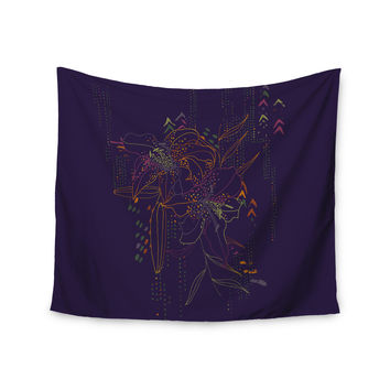 "Karina Edde ""Hibiscus"" Purple Abstract Wall Tapestry"