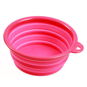 Silicone Pet Food Basin Foldable Portable Cat Dog Bowl   rose red