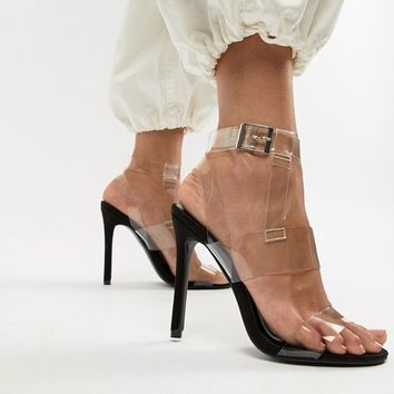 Boohoo clear strap heeled sandal in black at asos.com