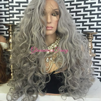 """Silver Gray Swiss Front Lace Wig 30"""" Extra Full Volume"""