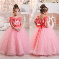 2017 Pink Lovely Toddler Girl Pageant Dresses Off Shoulders Flowers Beaded Short Sleeves Ball Gown Bow Glitz Kids Formal Wear