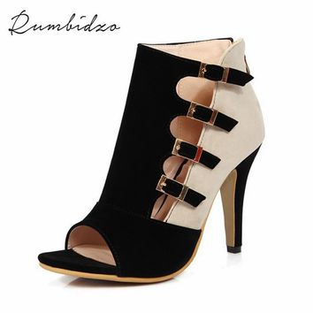 2017 New Women Pumps Peep Toe High Heels Sandals Women Buckle Heels Patchwork Party Shoes