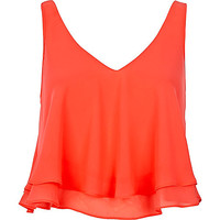 River Island Womens Orange double layered V neck crop top