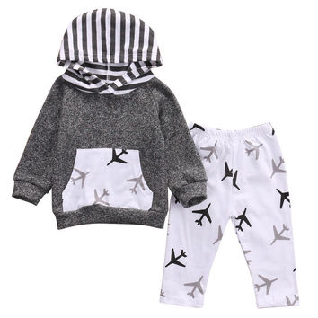New Infant Kids Baby Boys Clothes Set Hooded Tops Coat Warm Planes Pants Casual Outfits Baby Boy Girls Clothing Set