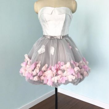 Flowers Prom Dresses Short Evening Gray Organza Fashion Party Formal Gown
