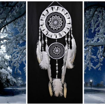 Snow Dreamcatcher White mosaic Dream Catcher Large Dreamcatcher New Dream сatcher gift idea cat's-eye dreamcatcher boho dreamcatcher gift
