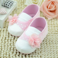 Toddler Baby Princess Girls Flower Crib Shoes Soft Sole Slippers Sneakers Shoes 0-18 M NW