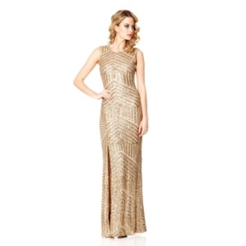 Gold Sequin Zig Zag Split Maxi Dress - Quiz Clothing