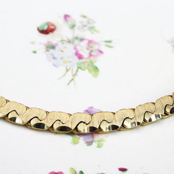 Chain Necklace, Costume Jewellery, Amerikane Jewelry, Amerikaner Neckalce, Gold Tone, Heavy Necklace, Flat Chain, Statement Piece - 1960's