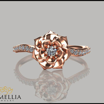 Camellia Flower Ring 14K Rose Gold Diamond Ring,Engagement ring,Floral Ring,Bridal Ring,Floral Jewelry,Unique Flower Ring,Diamond Ring.