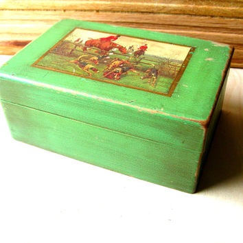 Vintage Wood Box - Horse Box - Decorative Equestrian Box - Jadeite Green Box