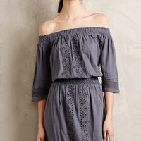 Nicola Embroidered Eyelet Dress by Tularosa Light Grey